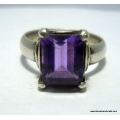 amethyst simple cut stone ring