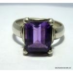 amethyst simple cut stone ring